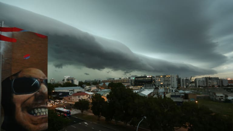 A thunderstorm rolls over Newcastle on Thursday night.