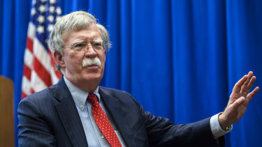 US national security adviser John Bolton, speaks during an interview about the meeting with his Russian counterpart Nikolai Patrushev, at the American embassy in Geneva, Switzerland.