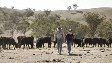 Bill and Nicole Hannah on their property in Gundy.