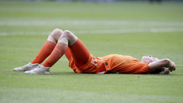 Devastation for Dutch player Dominique Bloodworth after the final whistle.