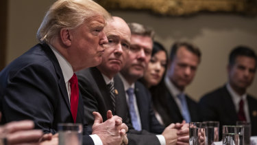 US President Donald Trump speaks during a meeting in the Cabinet Room of the White House last month.
