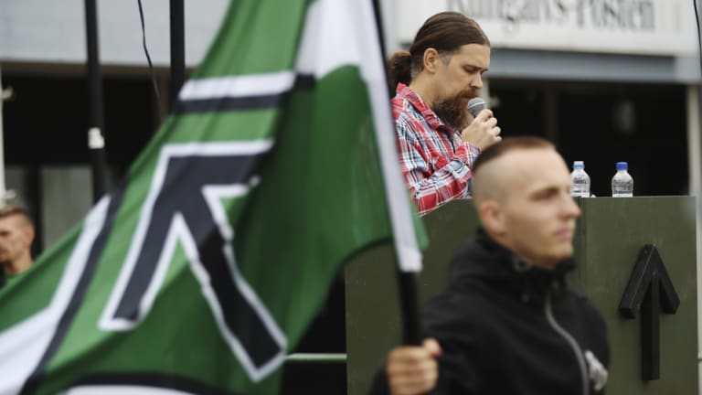 Fredrik Vejdeland of the Swedish neo-Nazi Nordic Resistance Movement (NMR) speaks during an election rally in Kungalv, Sweden, in August.
