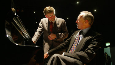 Geoffrey Tozer and Paul Keating, who delivered a cutting eulogy at the late pianist's funeral.