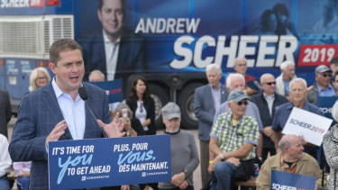 Conservative leader Andrew Scheer at his launch rally in Trois-Rivieres, Quebec.