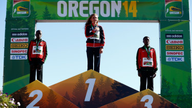 Mary Cain after topping the podium at the 2014 IAAF World Junior Championships in Oregon.