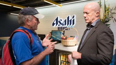 Stanley walnut grower David McIntyre puts his case to Stuart Roberts of Asahi.
