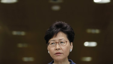 Carrie Lam during the press conference on Monday.