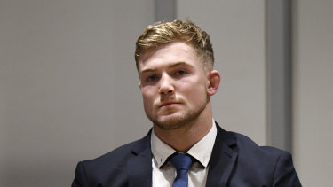 Canberra Raiders player Hudson Young at the judiciary on Tuesday night.
