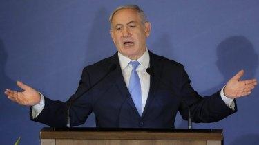 Israeli Prime Minister Benjamin Netanyahu speaks during the Conference of Presidents of Major American Jewish Organisations in Jerusalem.