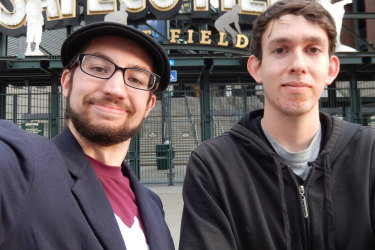 Ben and best friend John in Seattle in 2014, the last time they were physically together.