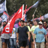 Dock workers protest at Port Botany over new wages agreement