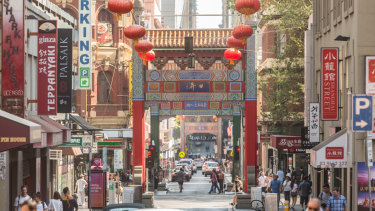 The Chinese archways that mark the entrances to Melbourne's Chinatown.