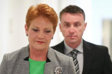Senator Pauline Hanson with chief of staff James Ashby.
