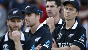 New Zealand players after losing the Cricket World Cup final.