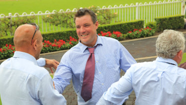 Hot to trot: Aaron Clarke after the win of Run Like A Rebel.