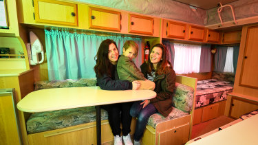 Anastasia Scales, partner Miss Carruthers and their son Okana gave up on overseas holidays and bought a caravan instead.