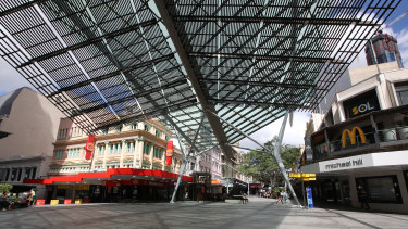 An empty Queen Street Mall, at the height of the COVID-19 restrictions in March.