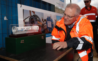 Scott Morrison visits the Snowy Hydro 2.0 Lobs Hole site in June.