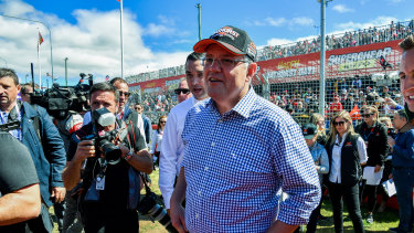 Prime Minister Scott Morrison during his visit to the Bathurst 1000 race.
