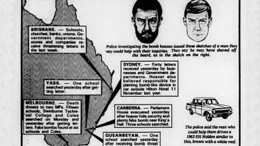 The Trail of Threats - The Age graphic from April 18, 1984.