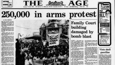 """Front page of The Age on April 15, 1984 - """"250,000 in arms protest""""."""