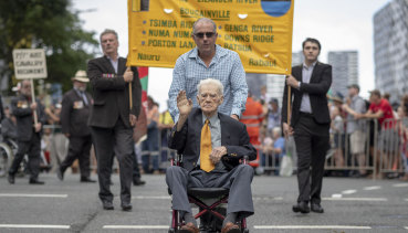 World War II Private Noel Pilcher and his son-in-law Russell Mayhew in the 2019 Anzac Day parade.