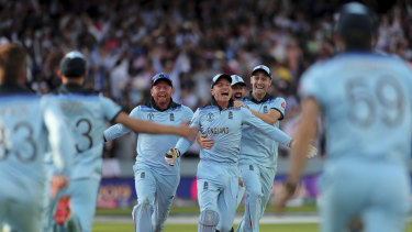 England players celebrate after securing the most remarkable of victories.