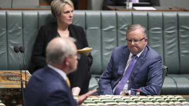 Labor leader Anthony Albanese (right) and Prime Minister Scott Morrison: the bipartisan moment carried an undercurrent of animosity