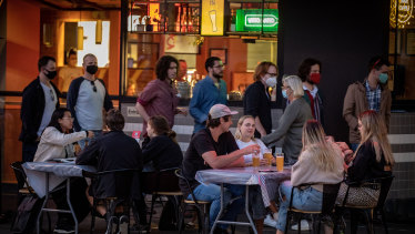 Melburnians embrace outdoor dining after restrictions were eased.
