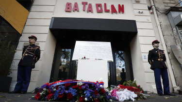 The entrance to the Bataclan venue in Paris on the third anniversary of the terrorist attack.