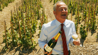 Former head of Bollinger Ghislain de Montgolfier  in the vineyards in pre-pandemic days.
