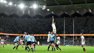 Tough going: A poor home crowd piled insult on injury during the Waratahs' round-11 loss to the Sharks at the new Bankwest Stadium on Saturday night.