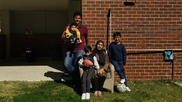 Mohammed Islam and Afsana Fardous with Sinan, Diyan and Shayan at home in Hurstville.