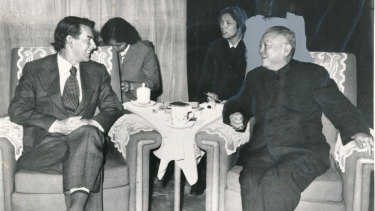 Age editor in chief Greg Taylor with Chinese vice premier Li Xiannian in China in 1979.
