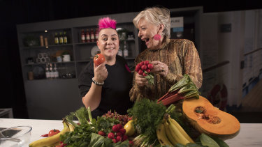 Chefs Maggie Beer and Anna Polyviou at the Good Food and Wine Show in Melbourne.