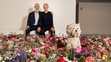 John Kaldor with Michael Landy at the Art Gallery of New South Wales.