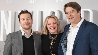 Leigh Whannell, Elizabeth Moss and Jason Blum.