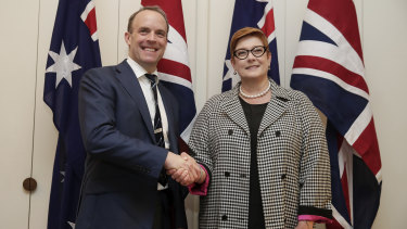 British Foreign Secretary Dominic Raab with Foreign Affairs Minister Marise Payne in Canberra, in February 2020.
