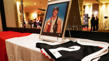 A tribute to former St Kilda player Danny Frawley at the 2019 Trevor Barker Award presentation at Crown Palladium in Melbourne on Wednesday night.