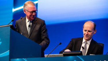 ANZ chairman David Gonski and CEO Shayne Elliott at the bank's annual general meeting in Perth. Mr Gonski conceded that his bank had at times been too focused on short-term earnings.