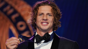 Nat Fyfe of Fremantle with his second Brownlow medal.