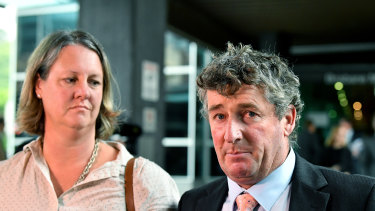 Former Tasmanian farmers Dimity and Michael Hirst outside the banking royal commission. Mr Hirst accused ANZ of never showing empathy.