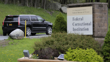 A car carrying Cohen arrives at federal prison in Otisville, New York.