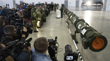 Foreign military attaches and journalists attend a briefing by the Russian Defence Ministry as the 9M729 land-based cruise missile.