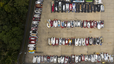 A storage yard for the dinghies and rowing boats previously used by migrants to cross the English Channel from France in Dover, England.