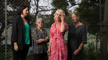 Woollahra councillor Harriet Price (left) with residents who are concerned about the redevelopment of the White City sporting venue in Paddington.