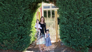 Kate Stafford, pictured with Eve and Mia, moved from Richmond in her 30s to a bigger home in Moonee Ponds.