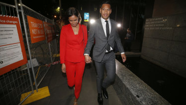 Israel Folau and wife Maria Folau leave the Federal Court after a 12-hour mediation with Rugby Australia on Monday.