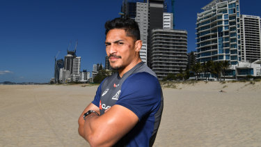 Confident: Wallabies back-rower Pete Samu on the Gold Coast on Monday ahead of Australia's match against Argentina.