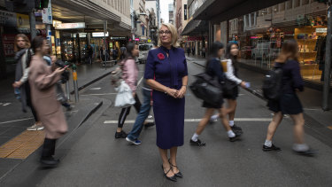 City of Melbourne lord mayor Sally Capp announcing the transport plan in Little Collins Street.